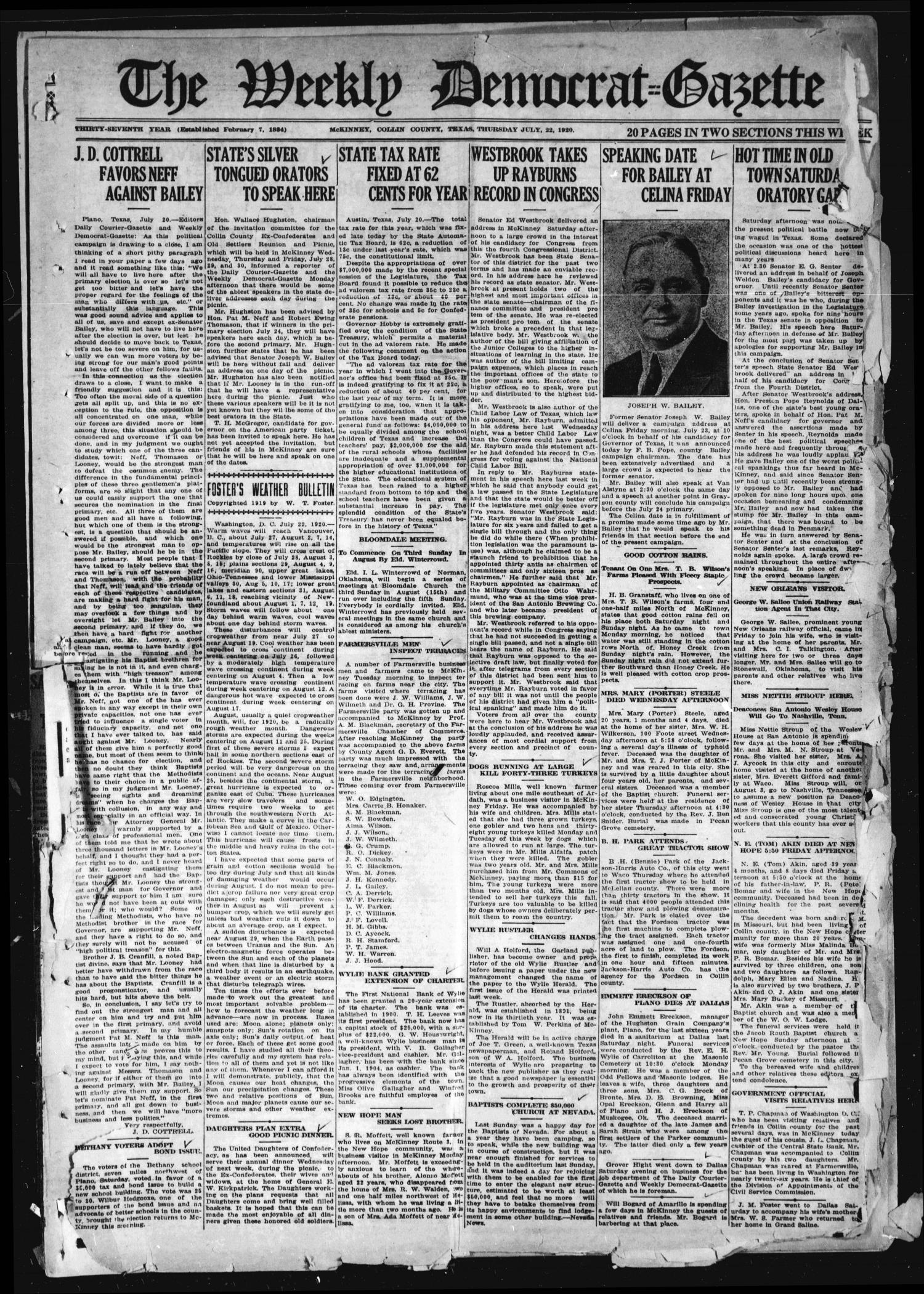 The Weekly Democrat-Gazette (McKinney, Tex.), Vol. 37, Ed. 1 Thursday, July 22, 1920                                                                                                      [Sequence #]: 1 of 20