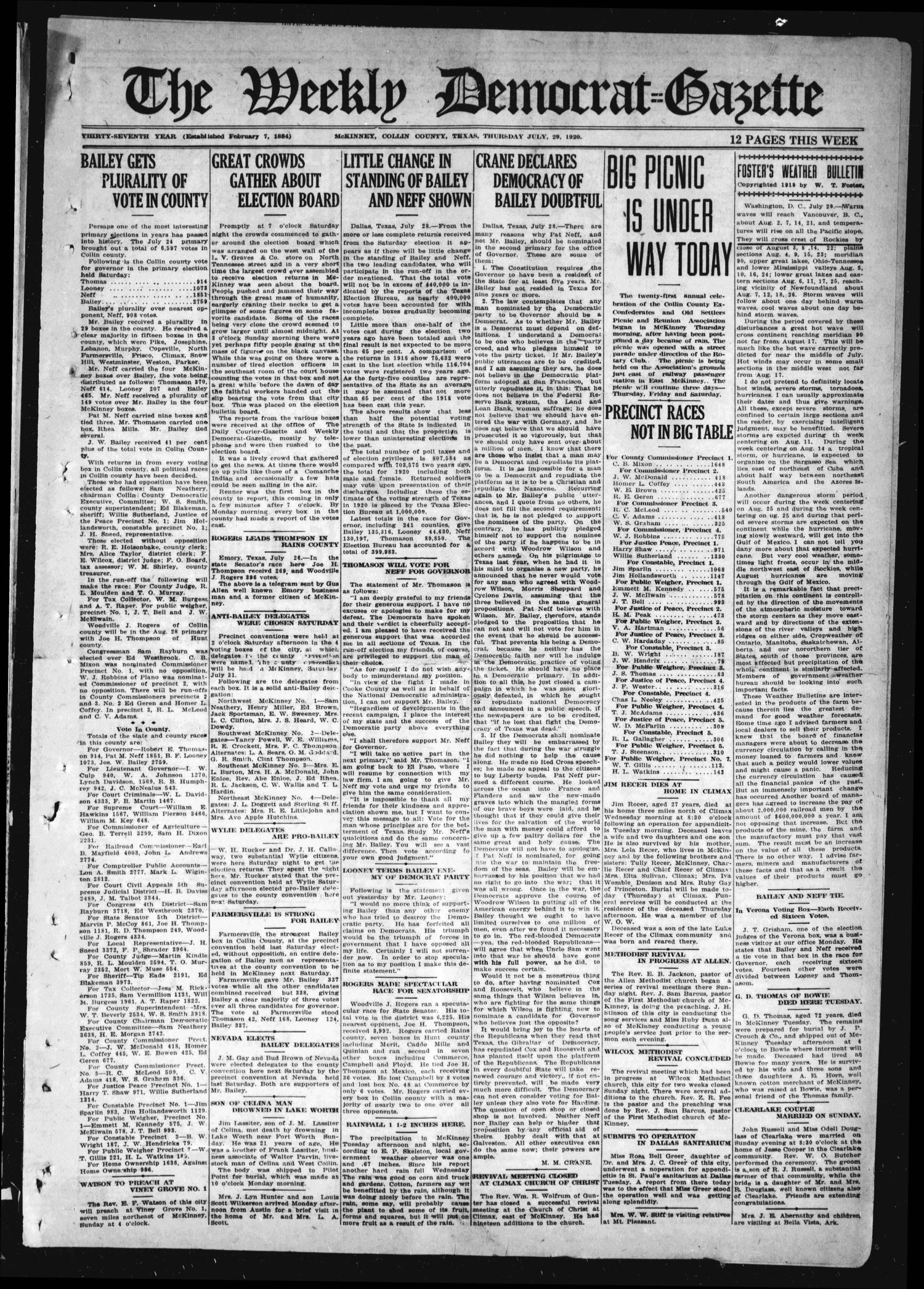 The Weekly Democrat-Gazette (McKinney, Tex.), Vol. 37, Ed. 1 Thursday, July 29, 1920                                                                                                      [Sequence #]: 1 of 12