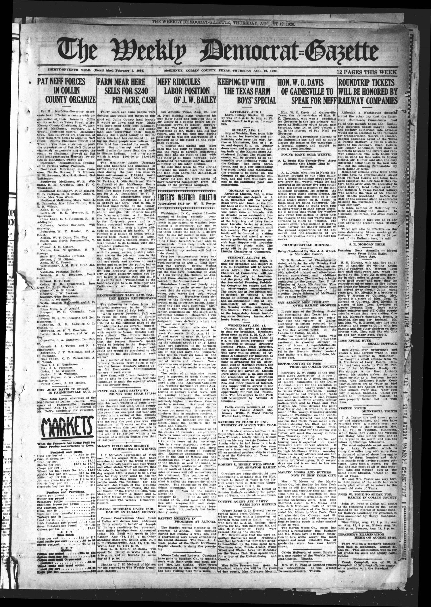 The Weekly Democrat-Gazette (McKinney, Tex.), Vol. 37, Ed. 1 Thursday, August 12, 1920                                                                                                      [Sequence #]: 1 of 12