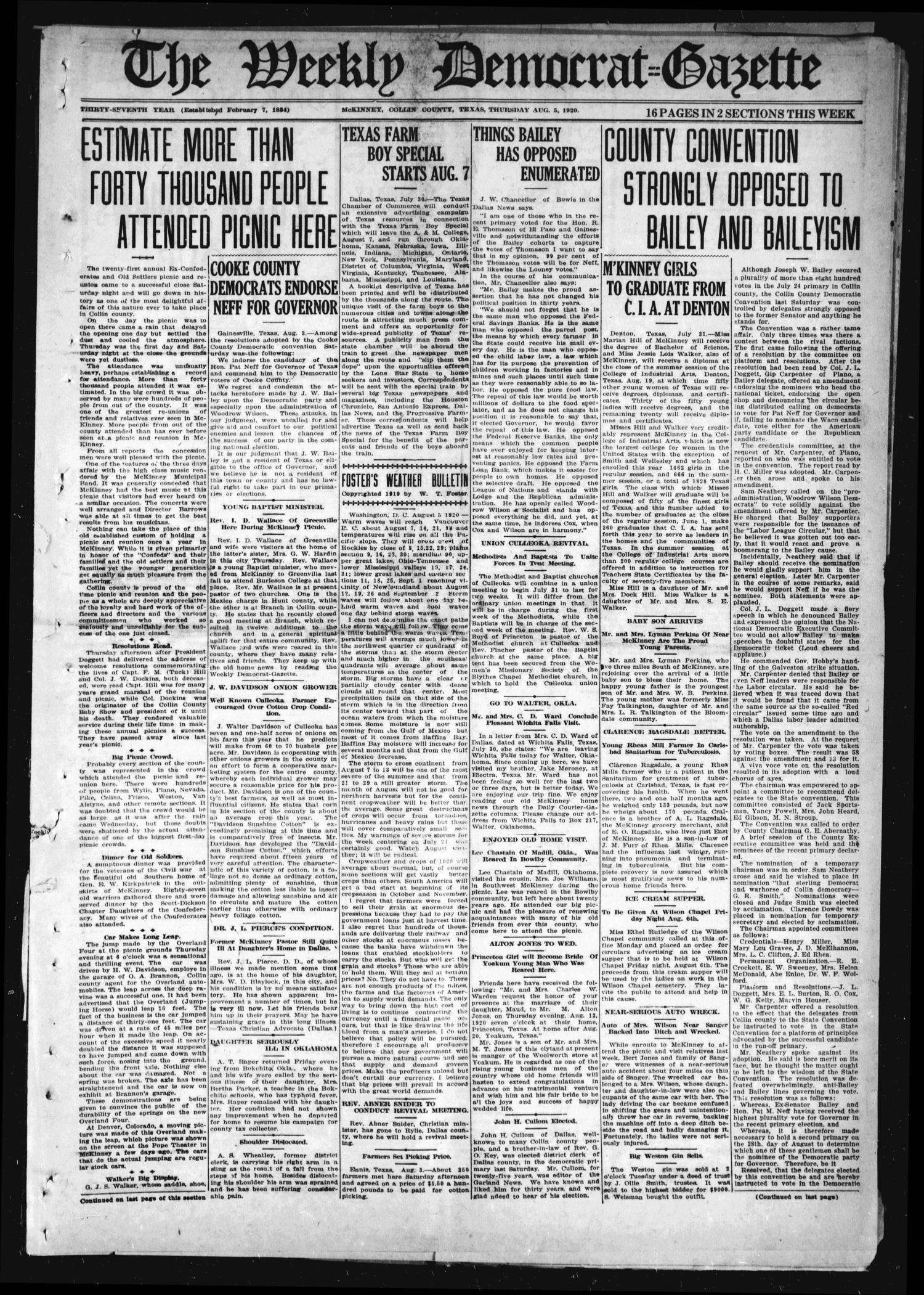 The Weekly Democrat-Gazette (McKinney, Tex.), Vol. 37, Ed. 1 Thursday, August 5, 1920                                                                                                      [Sequence #]: 1 of 16