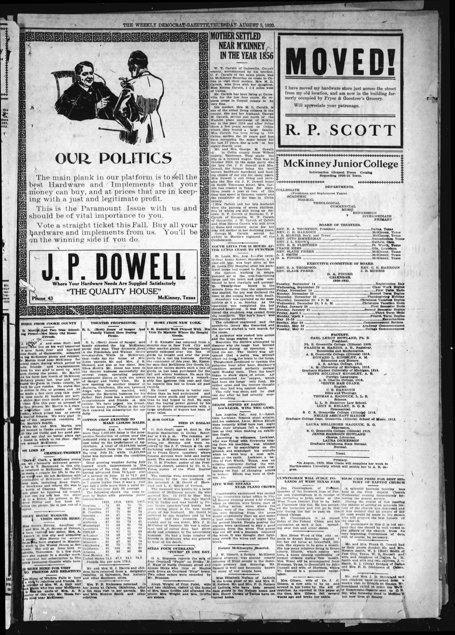 The Weekly Democrat-Gazette (McKinney, Tex.), Vol. 37, Ed. 1 Thursday, August 5, 1920                                                                                                      [Sequence #]: 13 of 16
