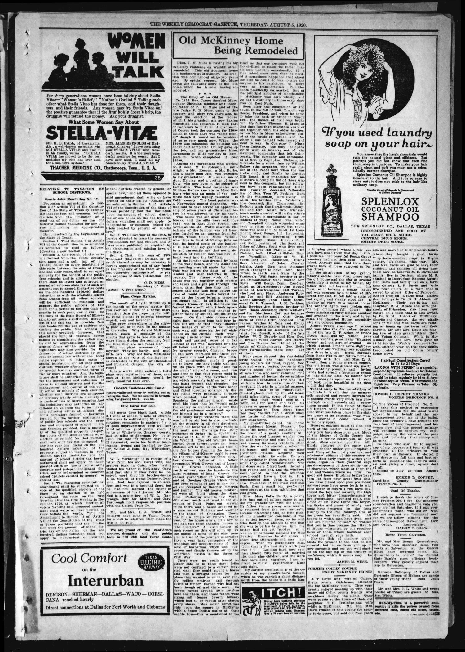 The Weekly Democrat-Gazette (McKinney, Tex.), Vol. 37, Ed. 1 Thursday, August 5, 1920                                                                                                      [Sequence #]: 7 of 16