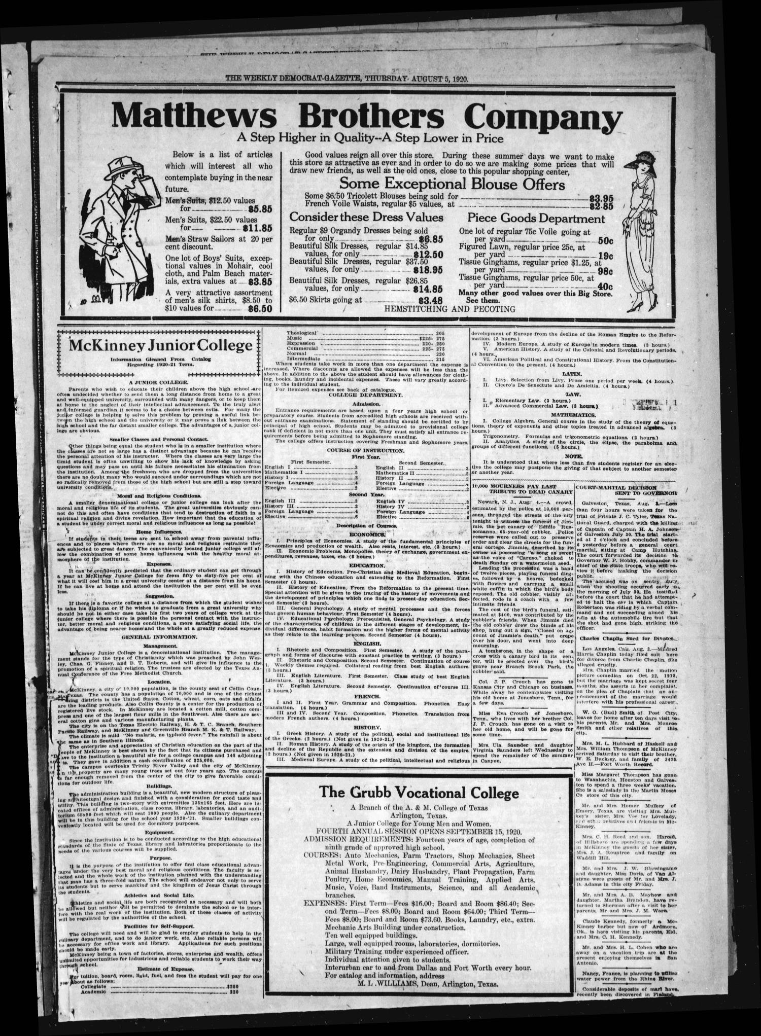 The Weekly Democrat-Gazette (McKinney, Tex.), Vol. 37, Ed. 1 Thursday, August 5, 1920                                                                                                      [Sequence #]: 9 of 16