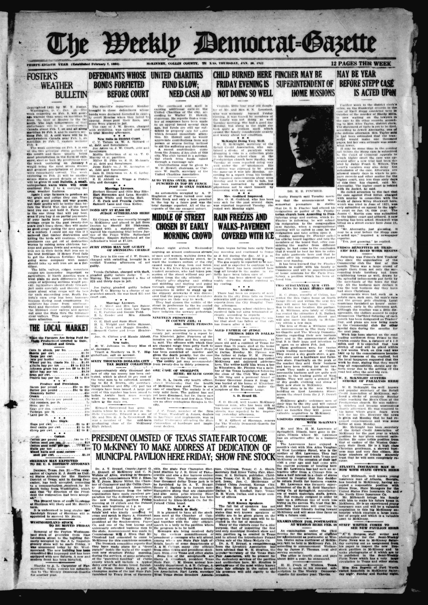 The Weekly Democrat-Gazette (McKinney, Tex.), Vol. 38, Ed. 1 Thursday, January 26, 1922                                                                                                      [Sequence #]: 1 of 12