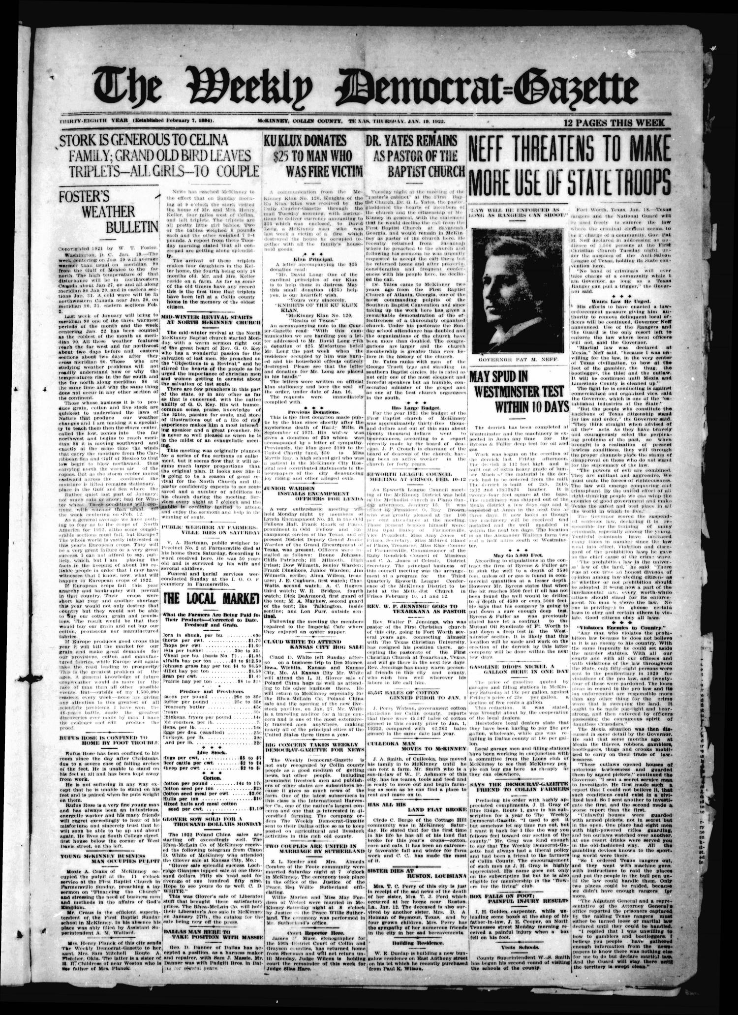 The Weekly Democrat-Gazette (McKinney, Tex.), Vol. 38, Ed. 1 Thursday, January 19, 1922                                                                                                      [Sequence #]: 1 of 12