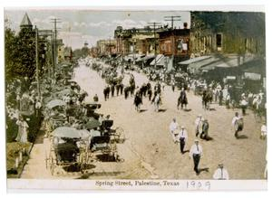 Primary view of object titled '[Postcard of Spring Street Looking West]'.