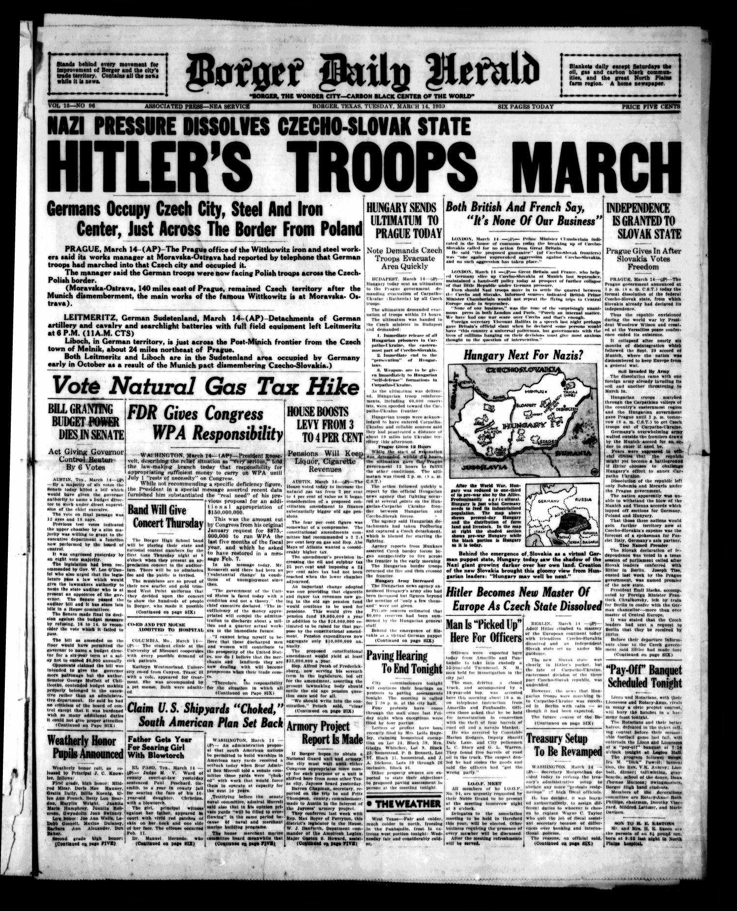 Borger Daily Herald (Borger, Tex.), Vol. 13, No. 96, Ed. 1 Tuesday, March 14, 1939                                                                                                      [Sequence #]: 1 of 6