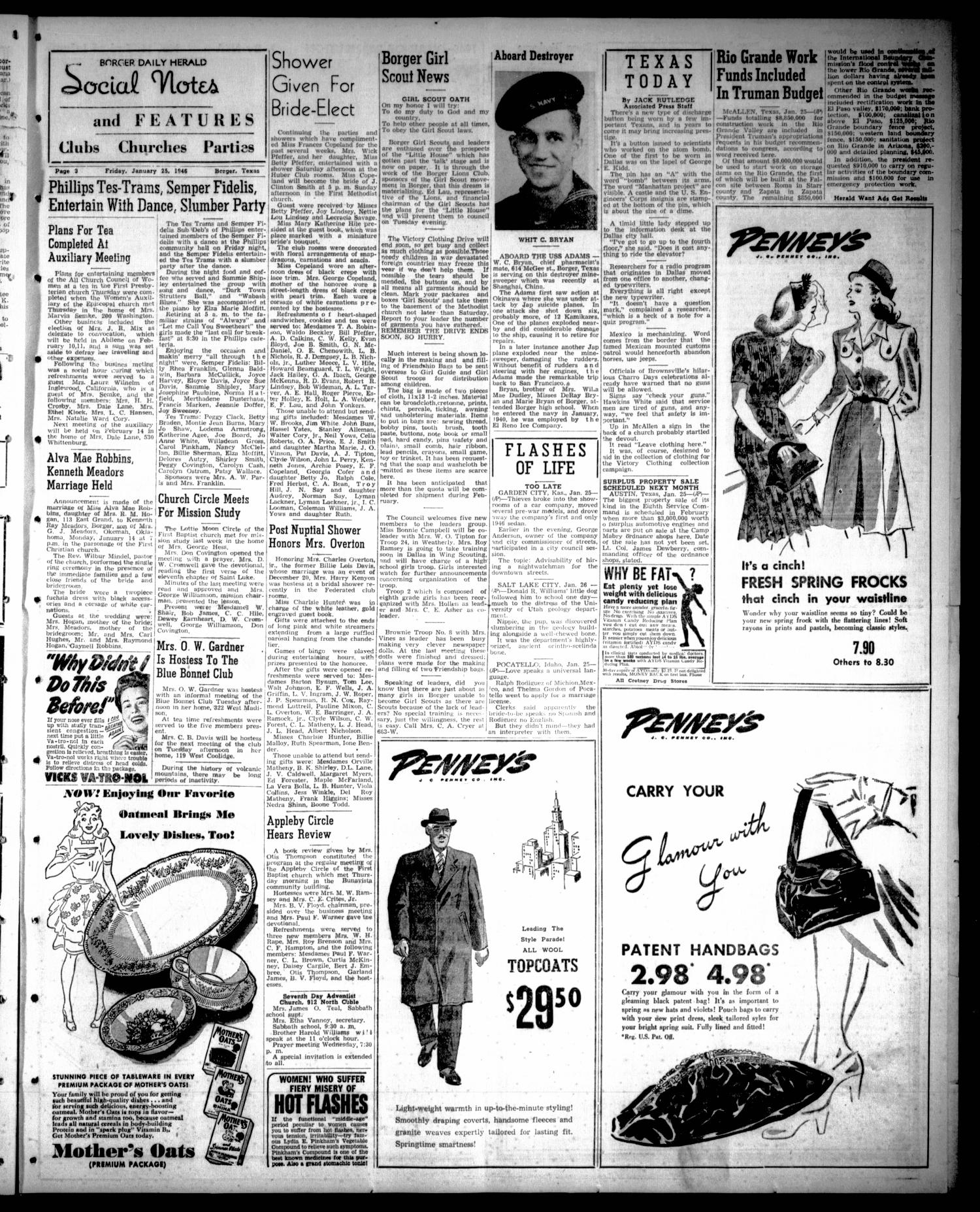 Borger Daily Herald (Borger, Tex.), Vol. 20, No. 53, Ed. 1 Friday, January 25, 1946                                                                                                      [Sequence #]: 3 of 8