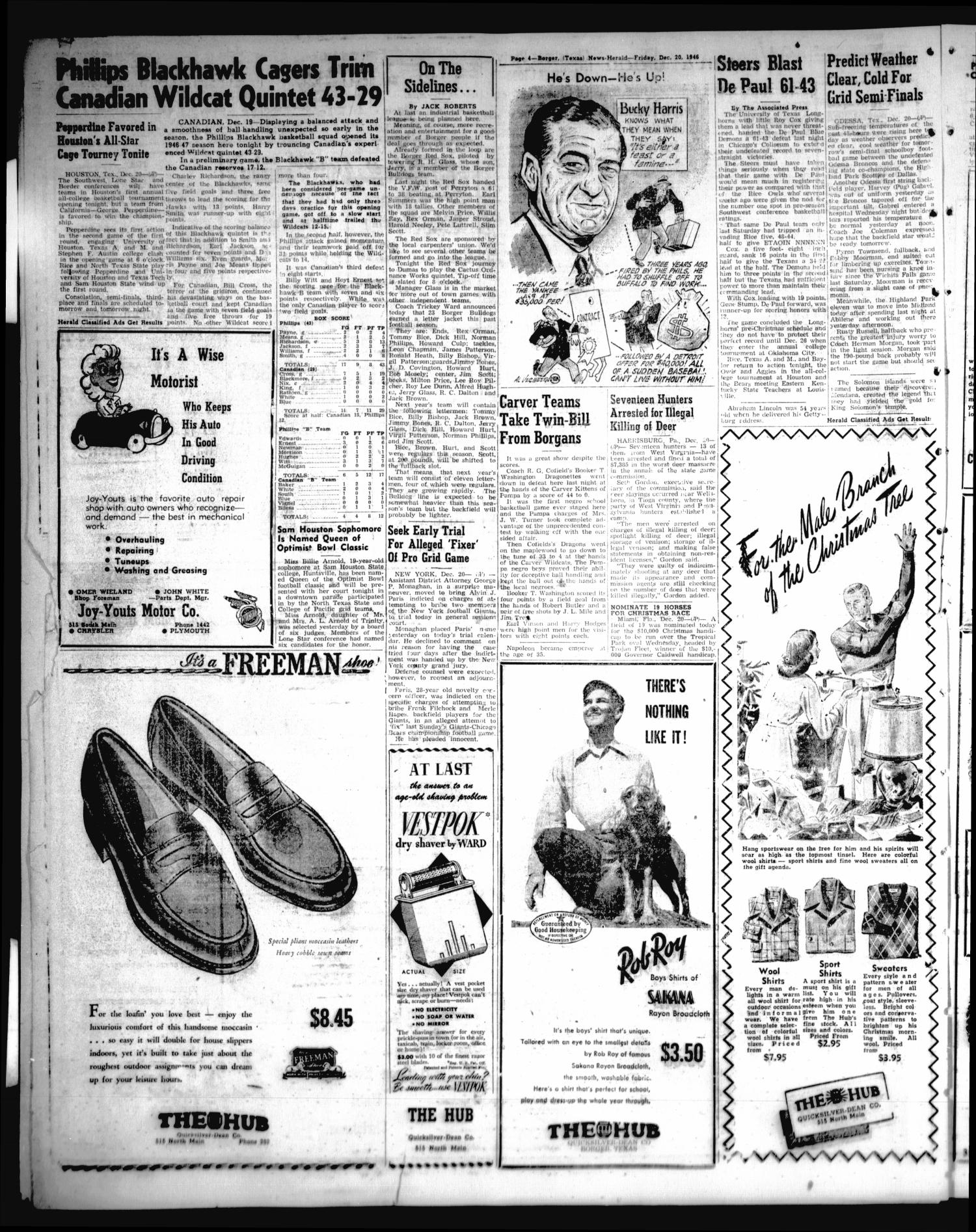 Borger-News Herald (Borger, Tex.), Vol. 21, No. 22, Ed. 1 Friday, December 20, 1946                                                                                                      [Sequence #]: 4 of 10