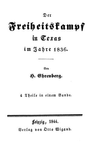 Primary view of object titled 'Freiheitskampf in Texas im Jahr 1836'.