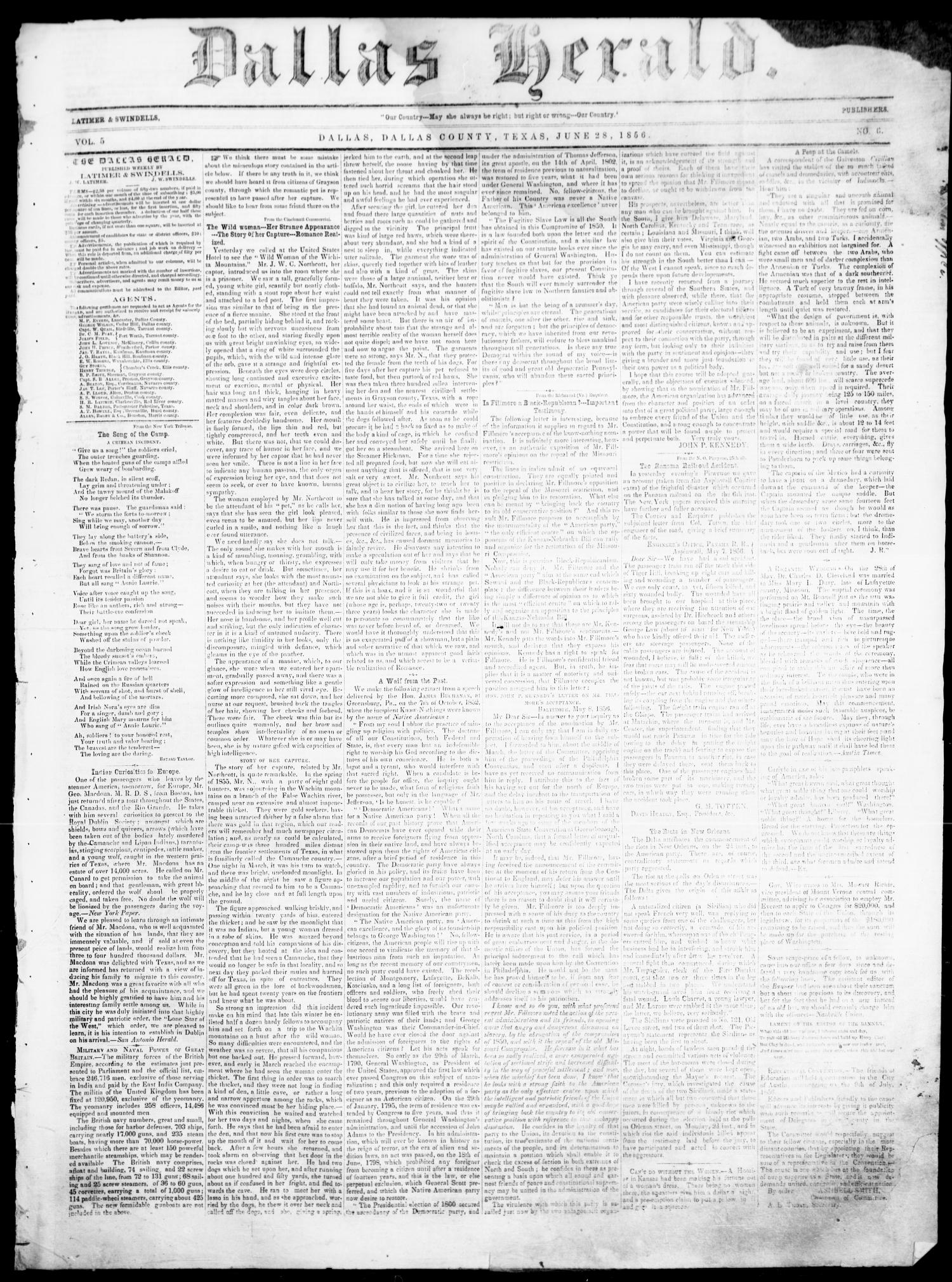 Dallas Herald. (Dallas, Tex.), Vol. 5, No. 6, Ed. 1 Saturday, June 28, 1856                                                                                                      [Sequence #]: 1 of 4