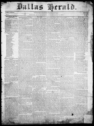 Primary view of object titled 'Dallas Herald. (Dallas, Tex.), Vol. 7, No. 36, Ed. 1 Wednesday, March 9, 1859'.