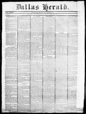 Primary view of object titled 'Dallas Herald. (Dallas, Tex.), Vol. 7, No. 42, Ed. 1 Wednesday, April 20, 1859'.