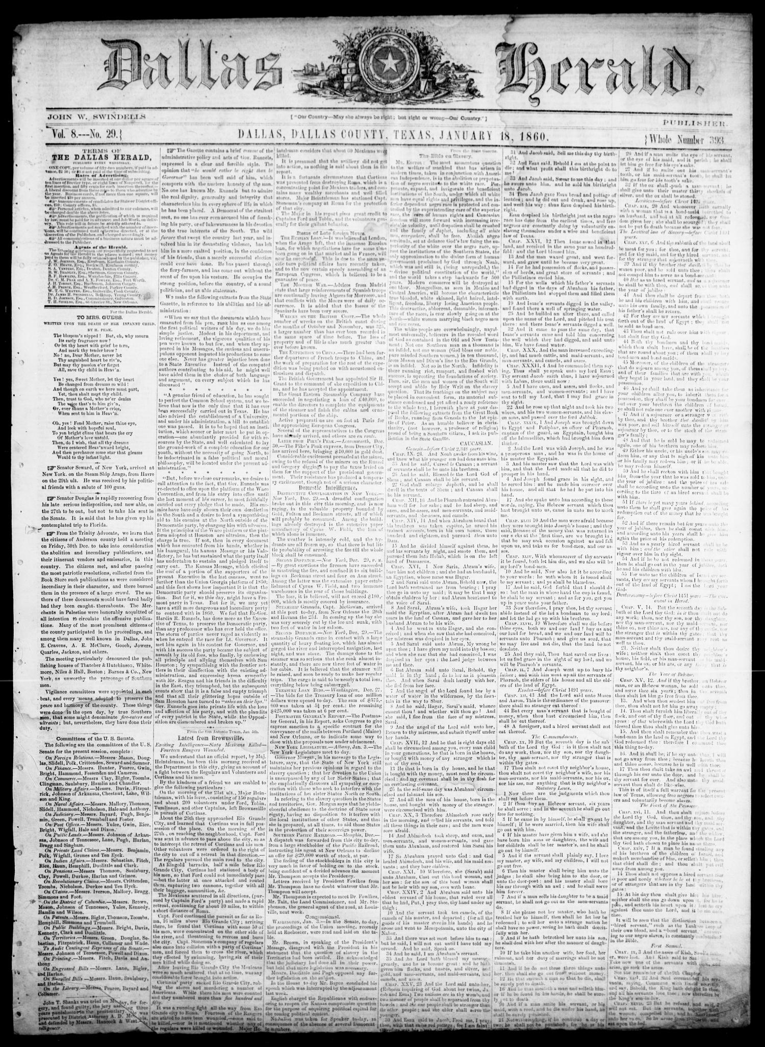 Dallas Herald. (Dallas, Tex.), Vol. 8, No. 29, Ed. 1 Wednesday, January 18, 1860                                                                                                      [Sequence #]: 1 of 4