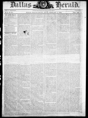Primary view of object titled 'Dallas Herald. (Dallas, Tex.), Vol. 8, No. 31, Ed. 1 Wednesday, February 1, 1860'.