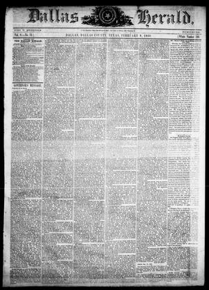 Primary view of object titled 'Dallas Herald. (Dallas, Tex.), Vol. 8, No. 32, Ed. 1 Wednesday, February 8, 1860'.