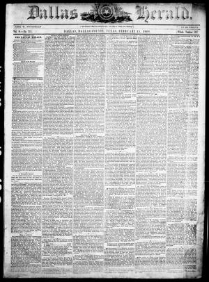 Dallas Herald. (Dallas, Tex.), Vol. 8, No. 33, Ed. 1 Wednesday, February 15, 1860