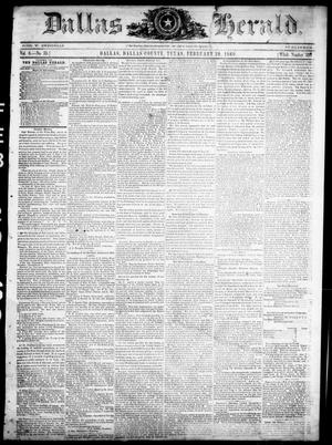 Primary view of object titled 'Dallas Herald. (Dallas, Tex.), Vol. 8, No. 35, Ed. 1 Wednesday, February 29, 1860'.