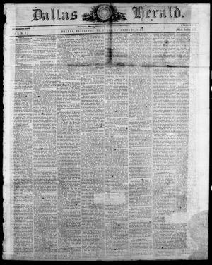 Primary view of Dallas Herald. (Dallas, Tex.), Vol. 9, No. 7, Ed. 1 Wednesday, November 21, 1860