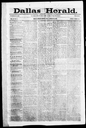 Primary view of object titled 'Dallas Herald. (Dallas, Tex.), Vol. 10, No. 16, Ed. 1 Wednesday, January 29, 1862'.