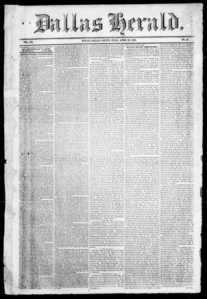 Primary view of object titled 'Dallas Herald. (Dallas, Tex.), Vol. 12, No. 33, Ed. 1 Thursday, April 13, 1865'.