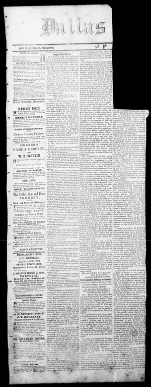 Primary view of object titled 'Dallas Herald. (Dallas, Tex.), Vol. 15, Ed. 1 Saturday, January 25, 1868'.