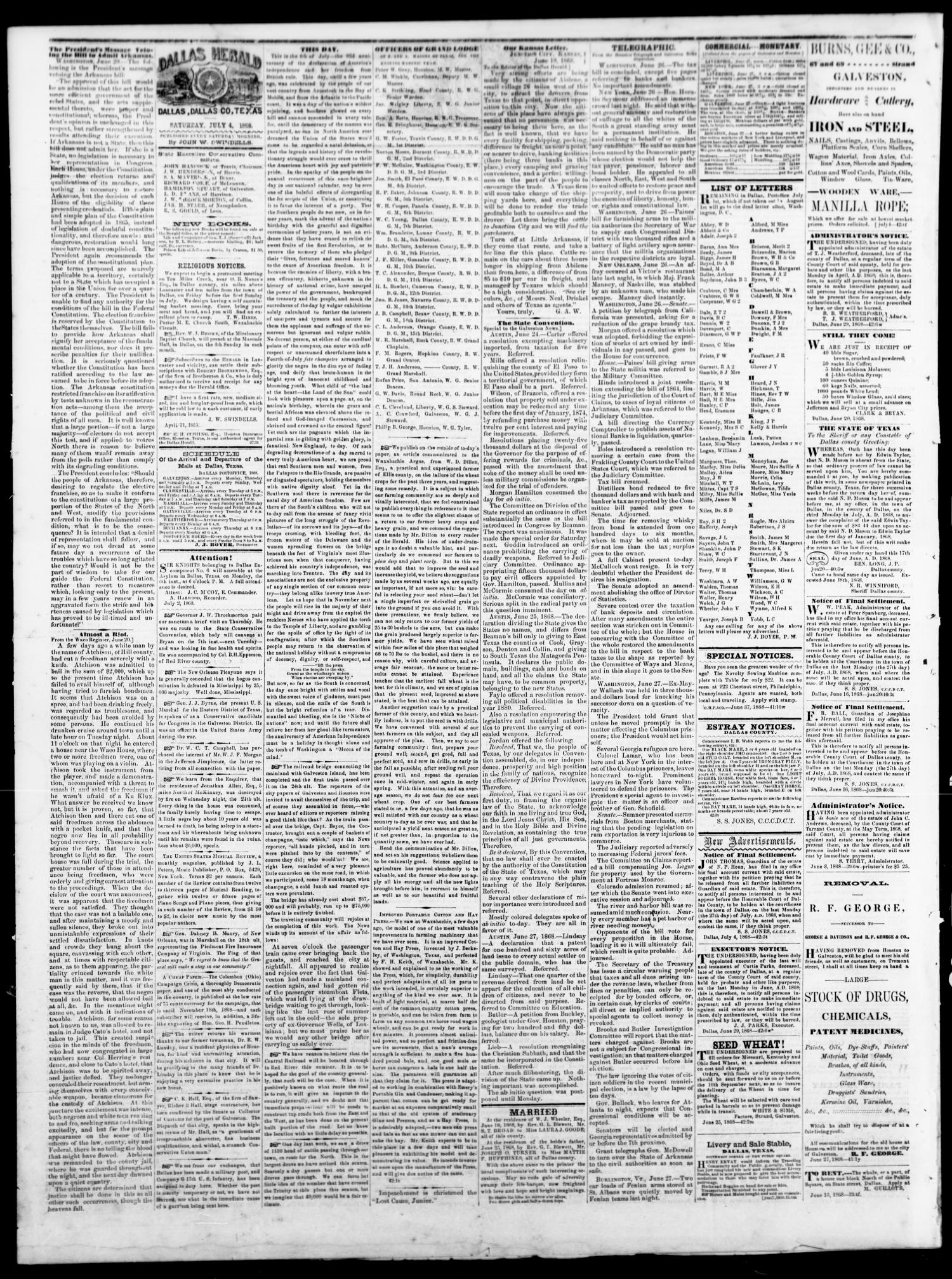 Dallas Herald. (Dallas, Tex.), Vol. 15, No. 42, Ed. 1 Saturday, July 4, 1868                                                                                                      [Sequence #]: 2 of 4
