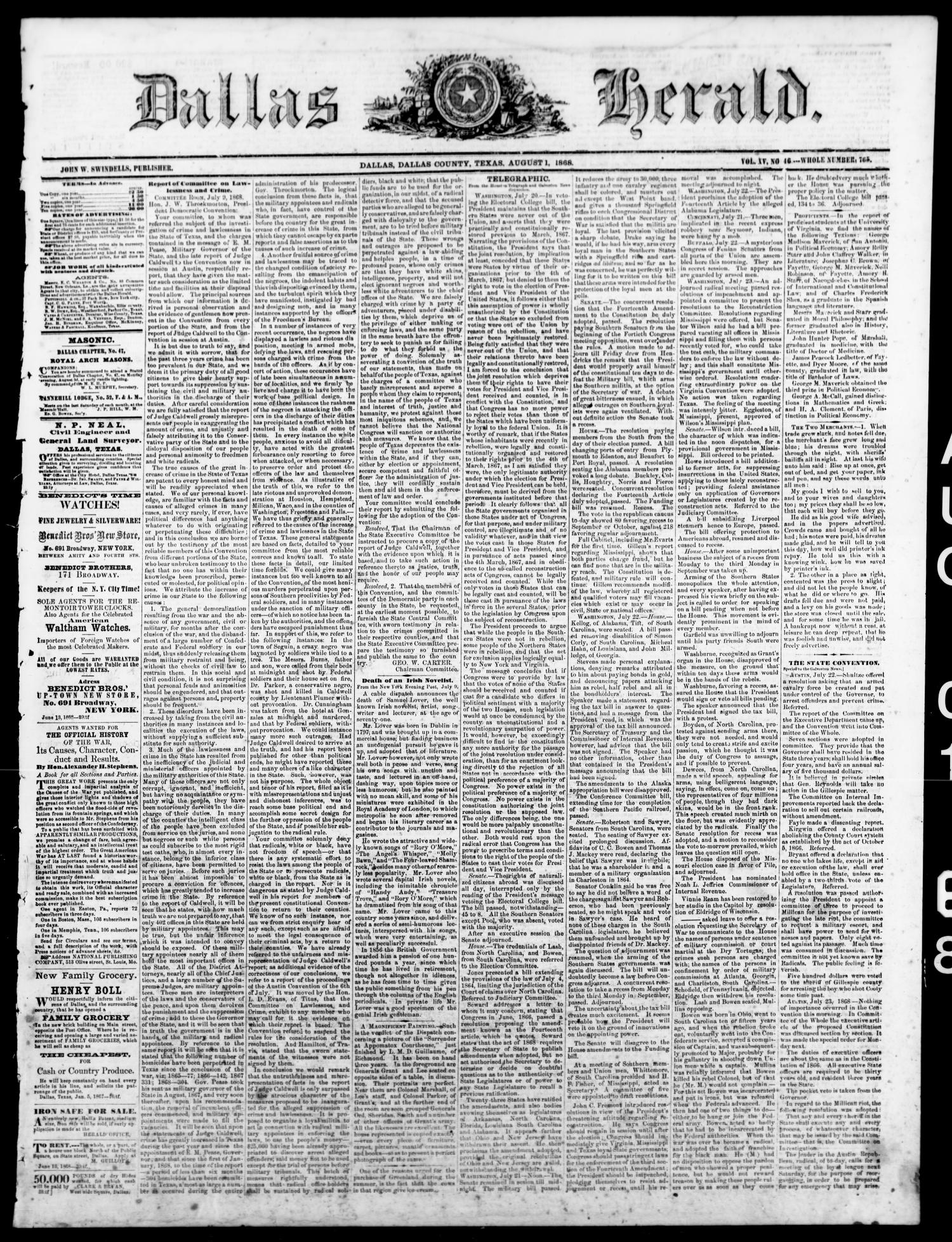 Dallas Herald. (Dallas, Tex.), Vol. 15, No. 46, Ed. 1 Saturday, August 1, 1868                                                                                                      [Sequence #]: 1 of 4
