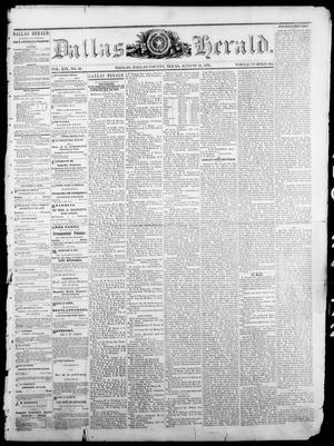 Primary view of Dallas Herald. (Dallas, Tex.), Vol. 19, No. 50, Ed. 1 Saturday, August 24, 1872