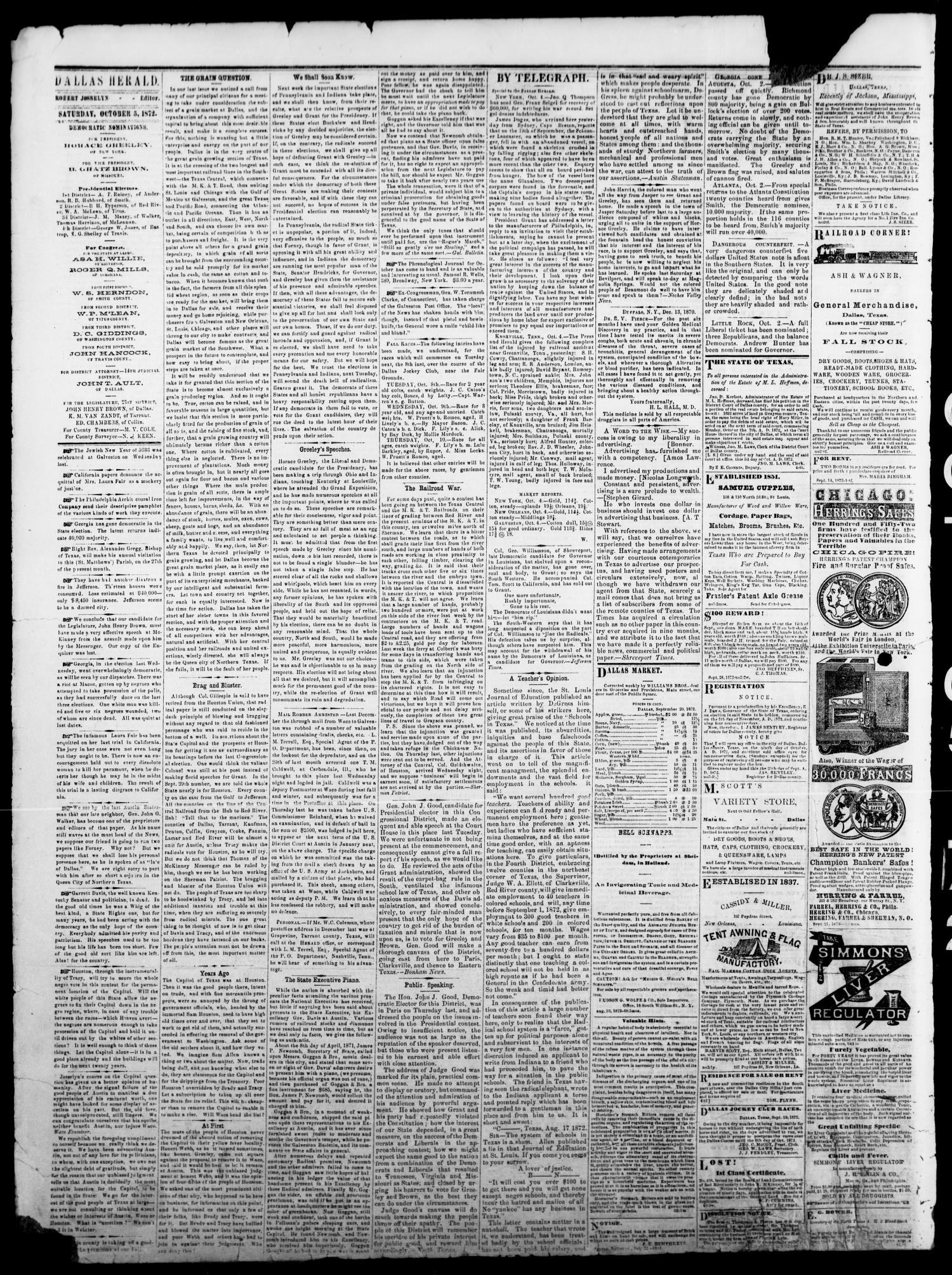 Dallas Herald. (Dallas, Tex.), Vol. 20, No. 4, Ed. 1 Saturday, October 5, 1872                                                                                                      [Sequence #]: 2 of 4