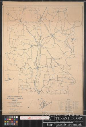 Primary view of object titled '1941 General Highway Map of Bosque County, Texas'.