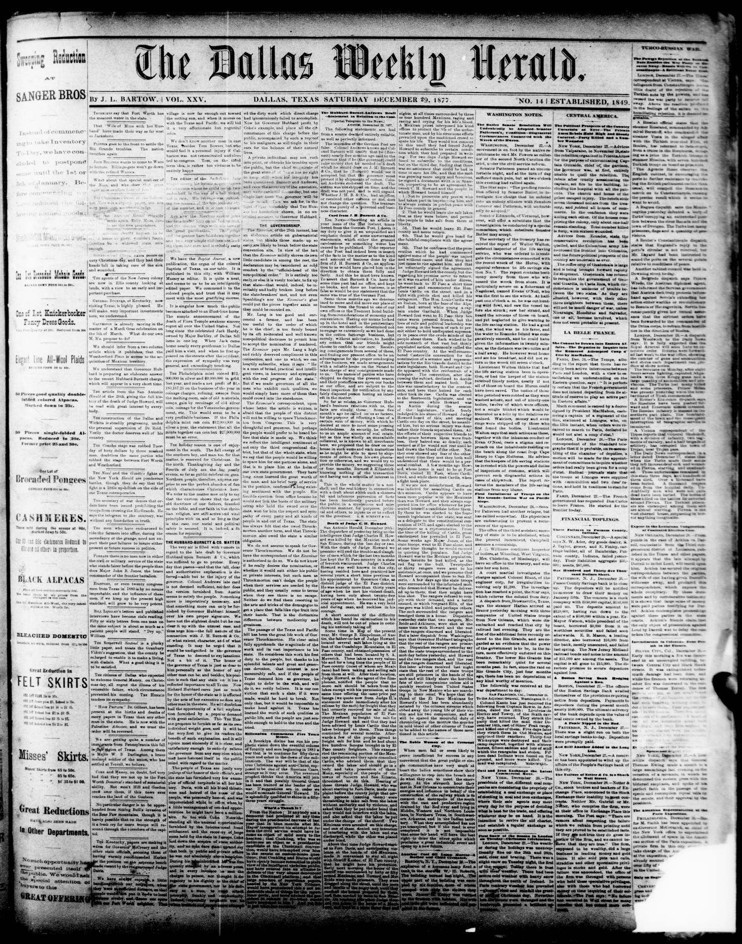 The Dallas Weekly Herald. (Dallas, Tex.), Vol. 25, No. 14, Ed. 1 Saturday, December 29, 1877                                                                                                      [Sequence #]: 1 of 4