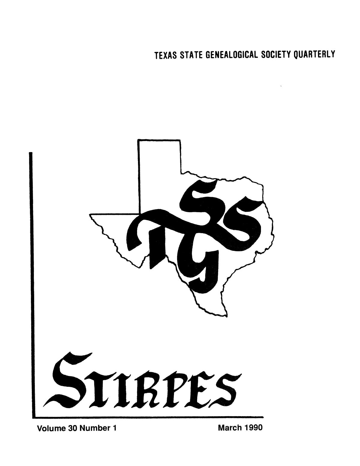 Stirpes, Volume 30, Number 1, March 1990                                                                                                      Title Page