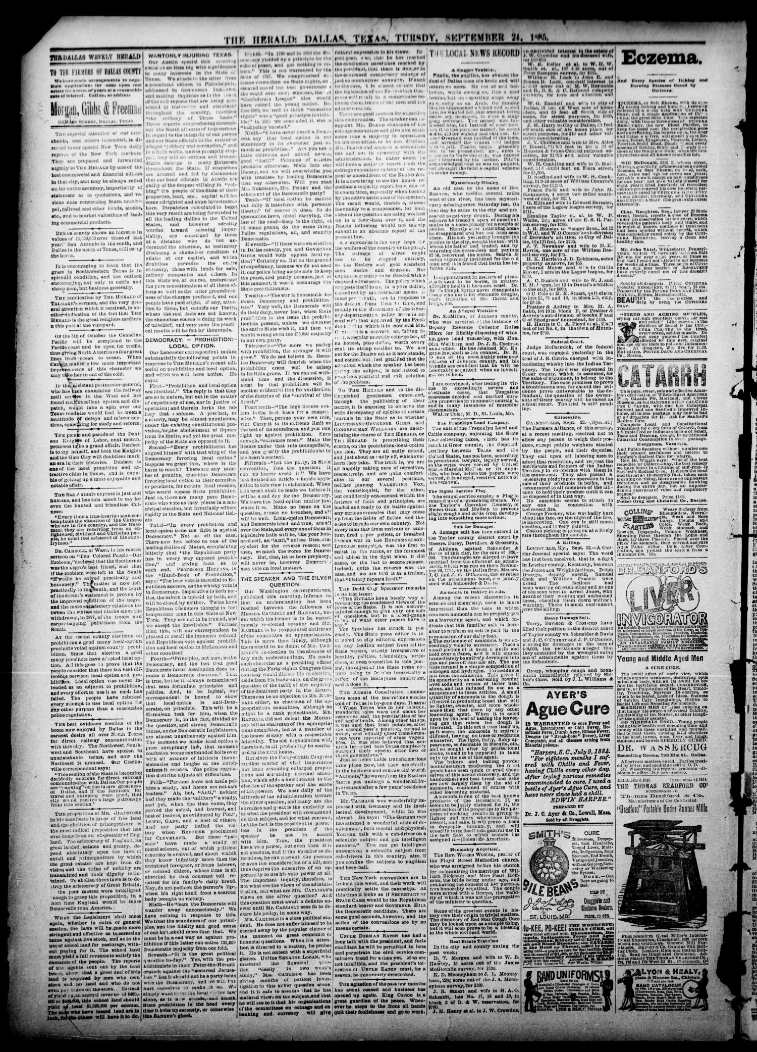 The Dallas Weekly Herald. (Dallas, Tex.), Vol. 35, Ed. 1 Thursday, September 24, 1885                                                                                                      [Sequence #]: 4 of 8