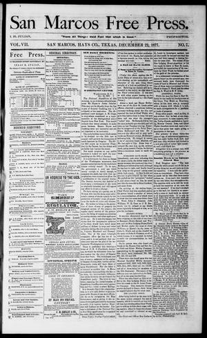 Primary view of object titled 'San Marcos Free Press. (San Marcos, Tex.), Vol. 7, No. 7, Ed. 1 Saturday, December 22, 1877'.