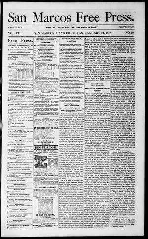 Primary view of object titled 'San Marcos Free Press. (San Marcos, Tex.), Vol. 7, No. 10, Ed. 1 Saturday, January 12, 1878'.