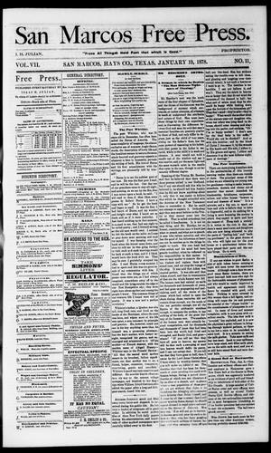 Primary view of object titled 'San Marcos Free Press. (San Marcos, Tex.), Vol. 7, No. 11, Ed. 1 Saturday, January 19, 1878'.