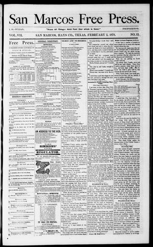Primary view of object titled 'San Marcos Free Press. (San Marcos, Tex.), Vol. 7, No. 13, Ed. 1 Saturday, February 2, 1878'.