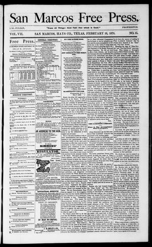 Primary view of object titled 'San Marcos Free Press. (San Marcos, Tex.), Vol. 7, No. 15, Ed. 1 Saturday, February 16, 1878'.