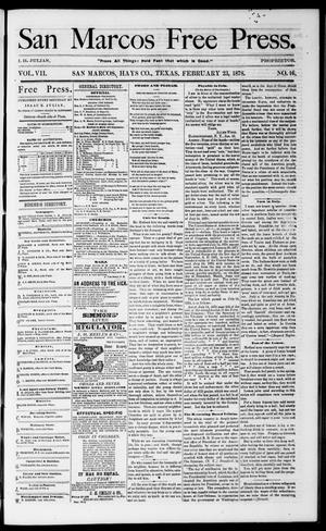 Primary view of object titled 'San Marcos Free Press. (San Marcos, Tex.), Vol. 7, No. 16, Ed. 1 Saturday, February 23, 1878'.