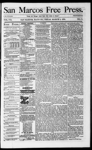 Primary view of object titled 'San Marcos Free Press. (San Marcos, Tex.), Vol. 7, No. 17, Ed. 1 Saturday, March 2, 1878'.