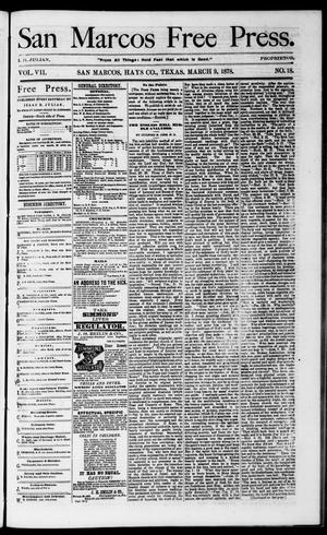 Primary view of object titled 'San Marcos Free Press. (San Marcos, Tex.), Vol. 7, No. 18, Ed. 1 Saturday, March 9, 1878'.