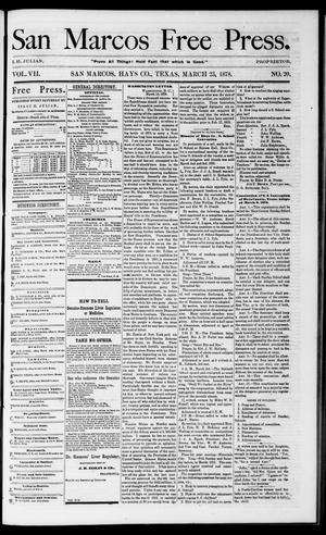 Primary view of object titled 'San Marcos Free Press. (San Marcos, Tex.), Vol. 7, No. 20, Ed. 1 Saturday, March 23, 1878'.