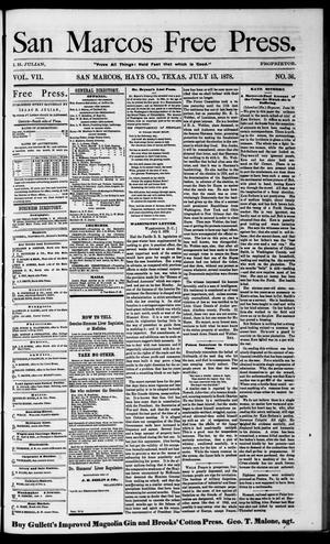 Primary view of object titled 'San Marcos Free Press. (San Marcos, Tex.), Vol. 7, No. 36, Ed. 1 Saturday, July 13, 1878'.