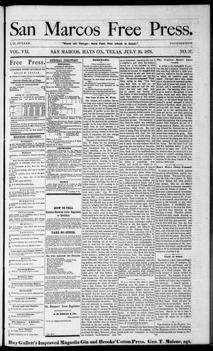 Primary view of object titled 'San Marcos Free Press. (San Marcos, Tex.), Vol. 7, No. 37, Ed. 1 Saturday, July 20, 1878'.