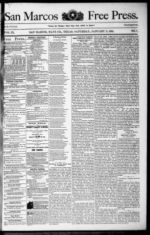 Primary view of object titled 'San Marcos Free Press. (San Marcos, Tex.), Vol. 9, No. 7, Ed. 1 Saturday, January 3, 1880'.