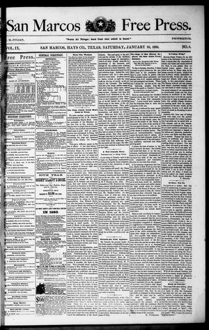 Primary view of object titled 'San Marcos Free Press. (San Marcos, Tex.), Vol. 9, No. 8, Ed. 1 Saturday, January 10, 1880'.