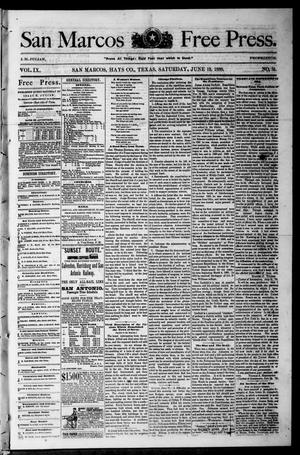 Primary view of object titled 'San Marcos Free Press. (San Marcos, Tex.), Vol. 9, No. 31, Ed. 1 Saturday, June 19, 1880'.