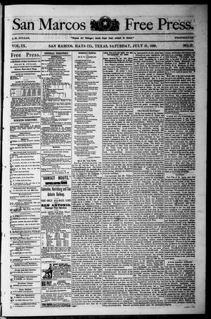 Primary view of object titled 'San Marcos Free Press. (San Marcos, Tex.), Vol. 9, No. 37, Ed. 1 Saturday, July 31, 1880'.