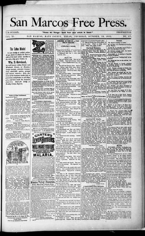 Primary view of object titled 'San Marcos Free Press. (San Marcos, Tex.), Vol. 11, No. 47, Ed. 1 Thursday, October 19, 1882'.